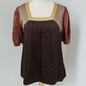Faconnable Brown Dressy Silk Short Sleeve Blouse